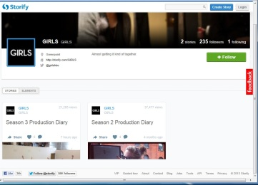 "A screenshot of the ""Girls"" Storify page."